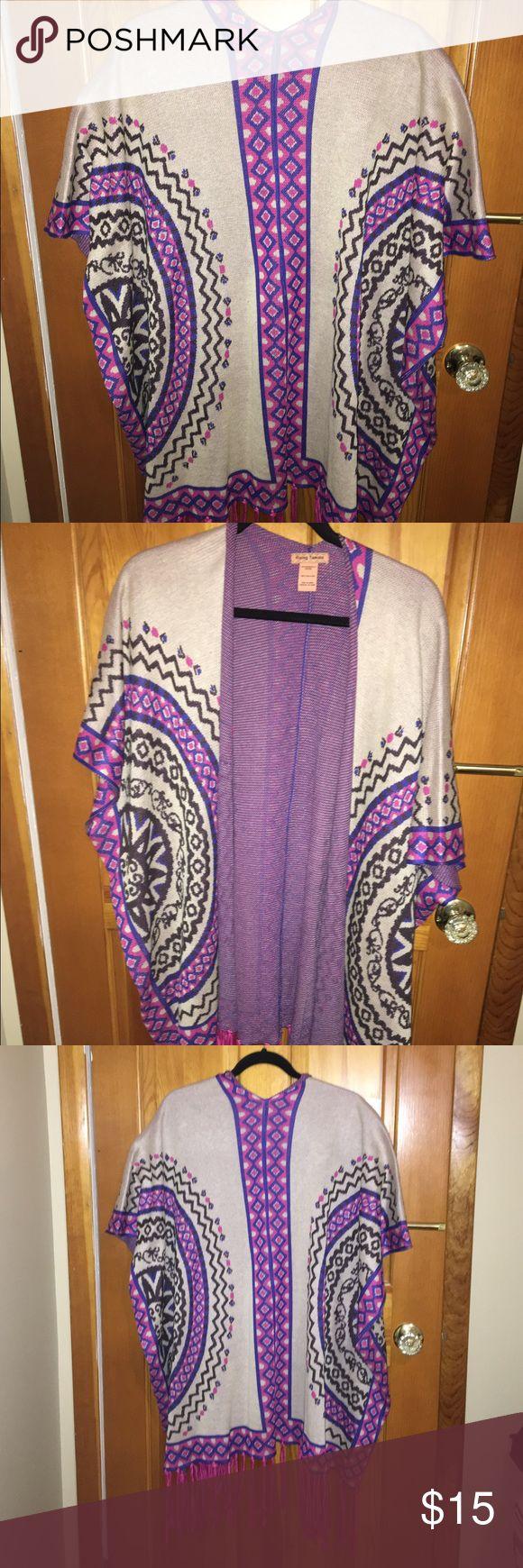 AZTEC TRIBAL fringe cardigan AZtec tribal cardigan with pink fringe on bottom Flying Tomato Sweaters