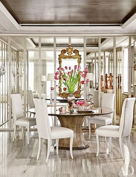 In The Dining Room, A Gracie Wallpaper Was Used On The Ceiling, And  Mirrored Panels Conceal Storage For Tableware; Solís Betancourt U0026 Sherrill  Designed The ...