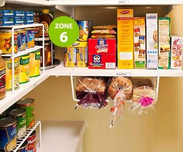 under shelf basket for breads--won't fall or get smashed. Also a full pantry organizing system.