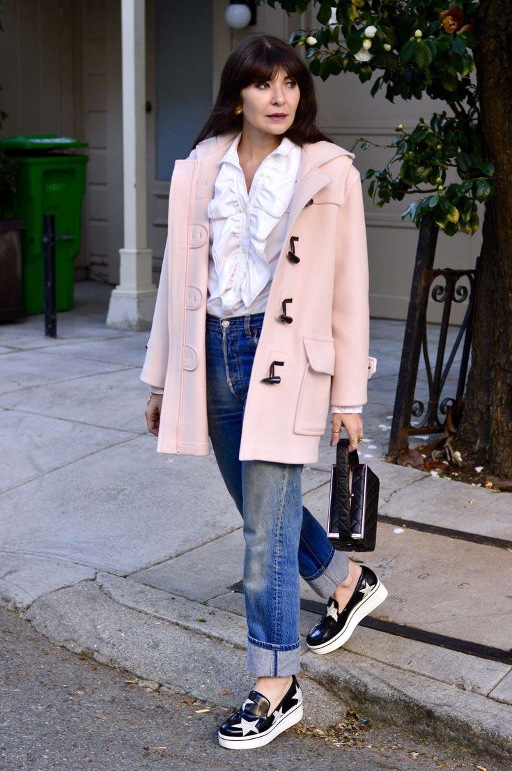 Duffle coat and tux shirt.