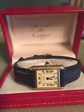 VTG must de Cartier Watch Ladies Blue Sapphire ARGENT TANK Vermeil GP WORKING