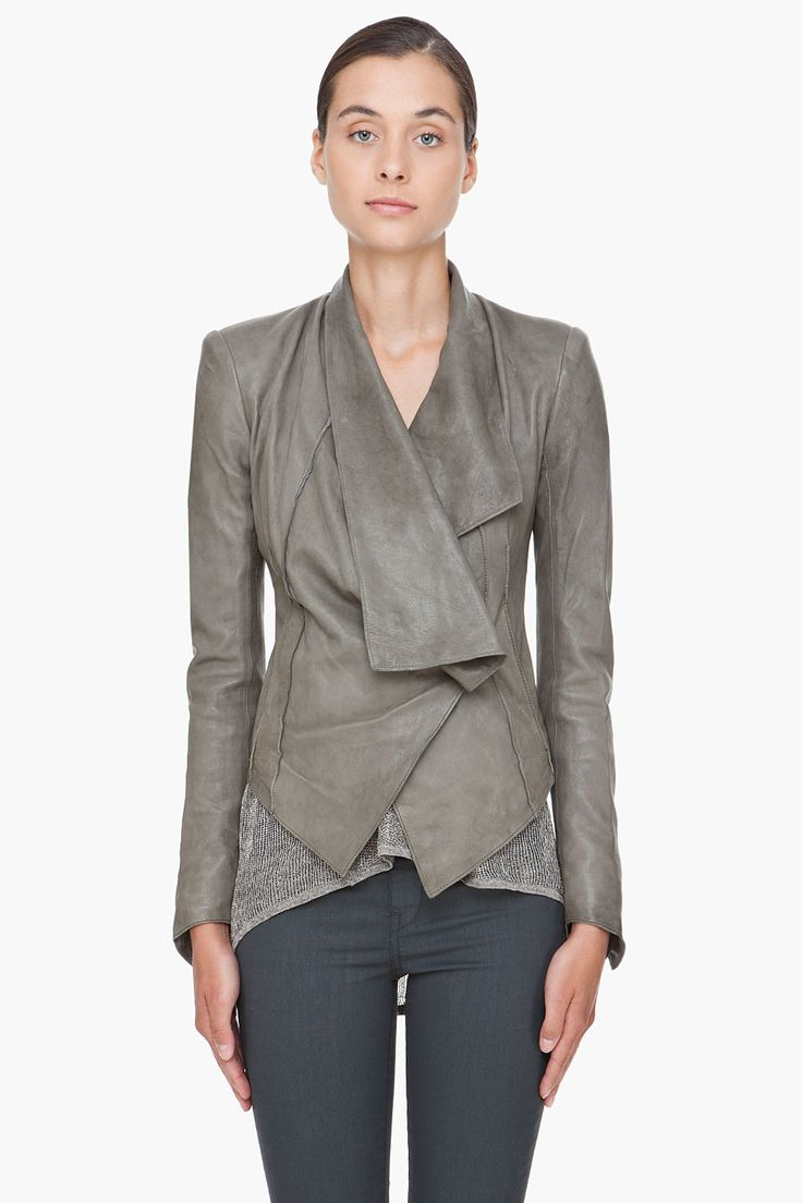 HELMUT LANG Grey Leather Jacket
