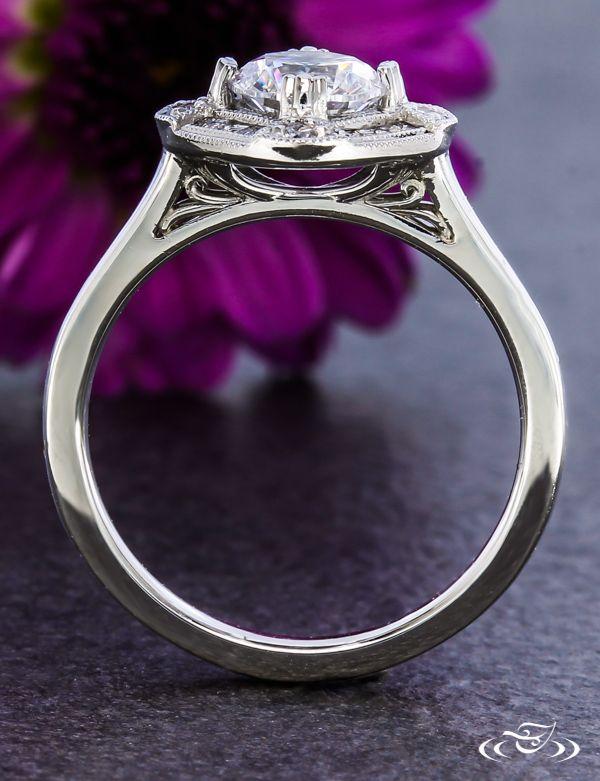 Platinum Art Deco Halo Engagement Ring Green Lake Jewelry