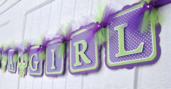 Ducha de bebé búho banner de ducha de bebé buho púrpura