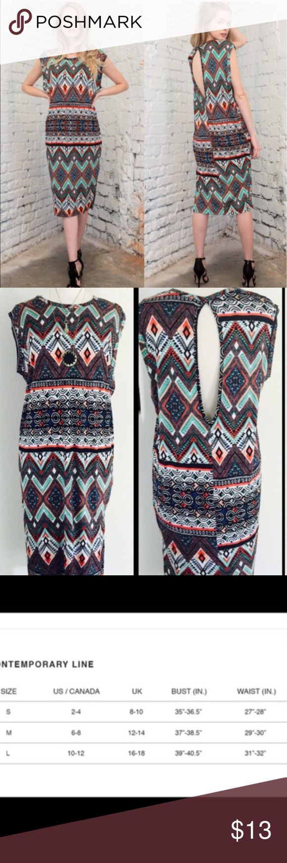 April Spirit Tribal Print Dress Loose fit tribal print dress, with one accent side slit and exposed back. -Made in the USA🇺🇸  🚫Trades ✅Price is firm, bundle and save on shipping. April Spirit Dresses Midi
