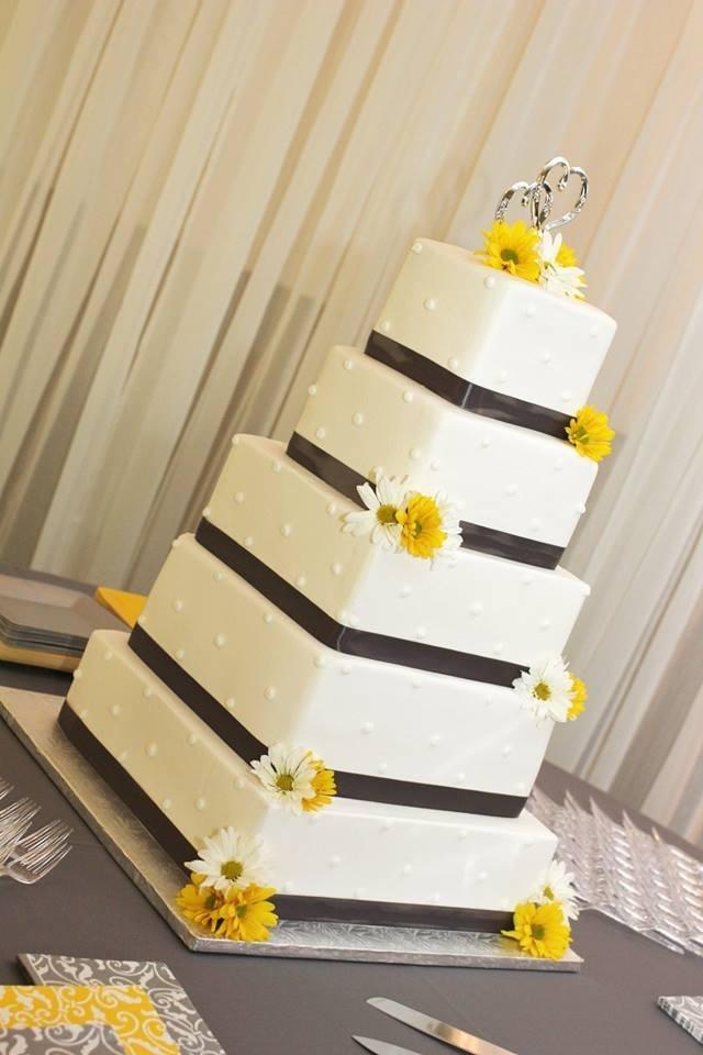 Gray And Yellow Wedding Cake