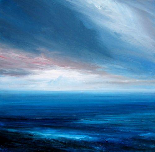 James Naughton Calm Sea 16x16cm Oil On Board 2005