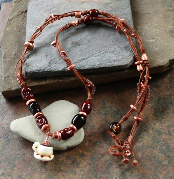 Artisan glass lampwork coffee cup and bean necklace by simplycindy, $35.00
