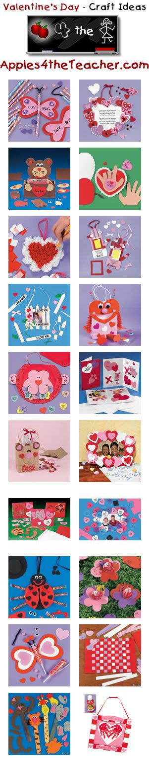 Megan C. found thought it was cute Fun Valentines Day crafts for kids - Valentine's Day craft ideas for children.   http://www.apples4theteacher.com/holidays/valentines-day/kids-crafts/