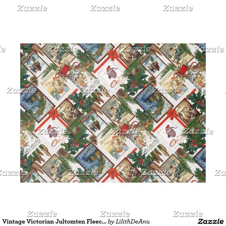 Vintage Victorian Jultomten Fleece Blanket