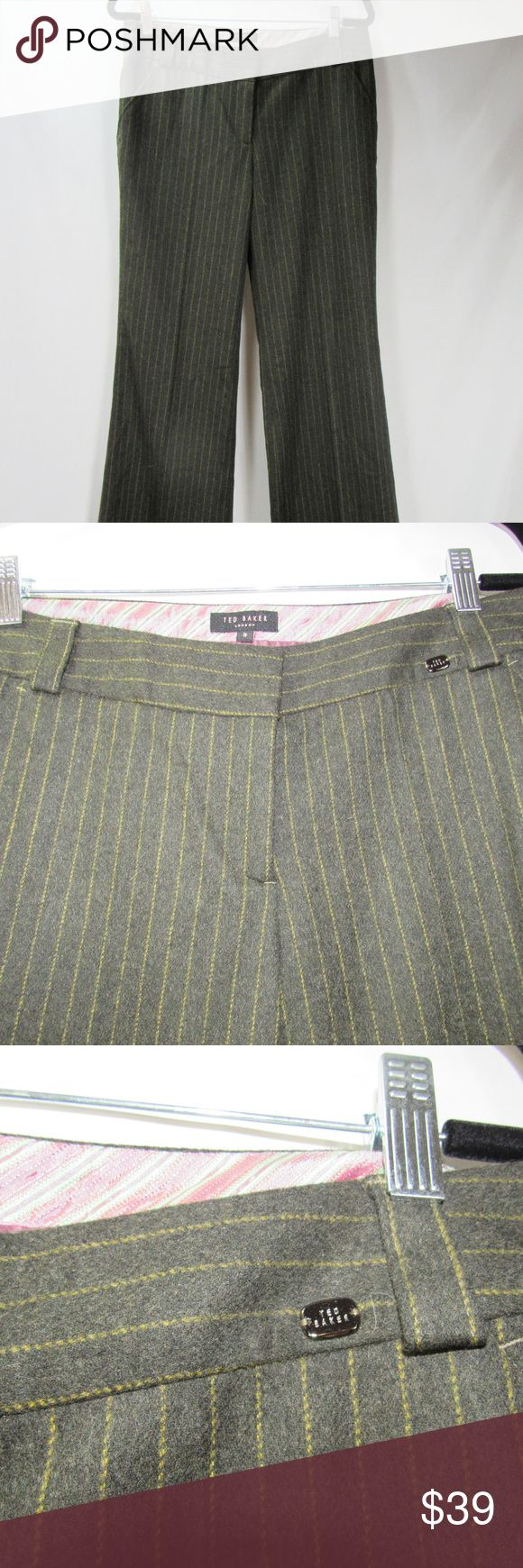 Ted Baker Tall 3 Wool Brown Pinstripe Dress Pants Women's size 3 Tall Ted Baker wool dress pants in brown pinstripe. High quality pants! 34 X 36. Excellent condition with no flaws or notable wear. Fast shipping! Thanks for looking. Ted Baker Pants Trousers