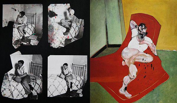 Lucian Freud by Francis Bacon. L: Working documents – Photos by John Deakin c 1964. R: Double Portrait of Lucian Freud & Frank Auerbach.