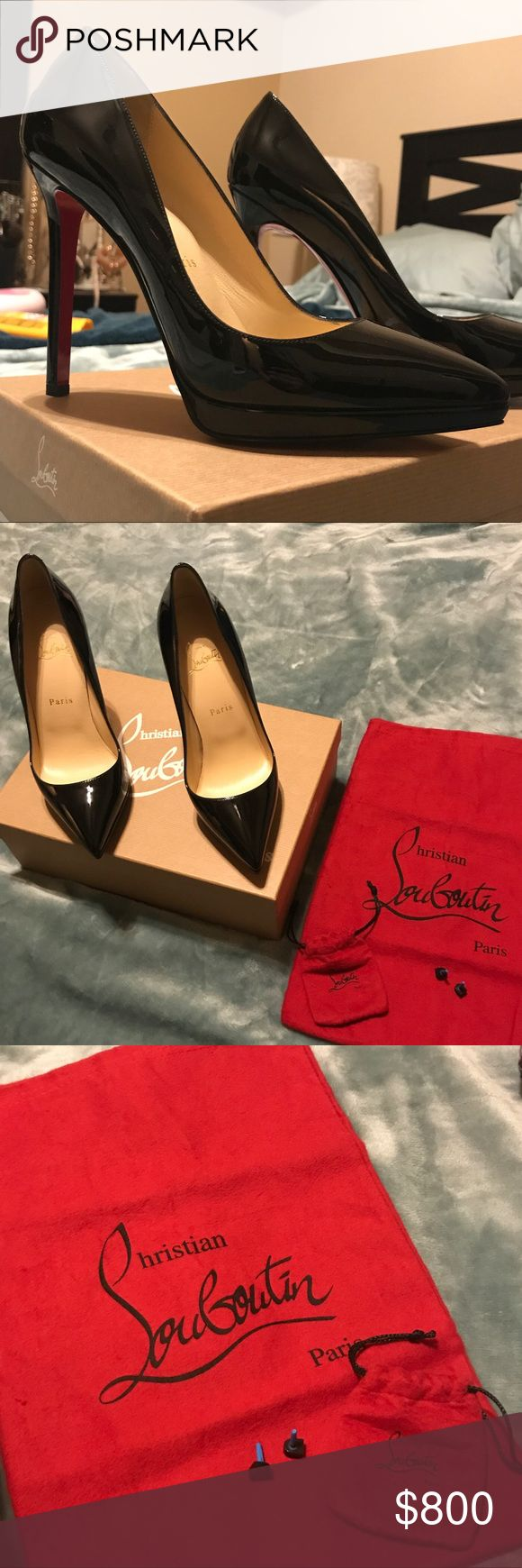 Christian Louboutin Pigalle Plato 120 Patent Calf A new pair of Christian Louboutin Pigalle Plato 120 Patent Calf Black pumps with duster and original heel replacements. Christian Louboutin Shoes Heels
