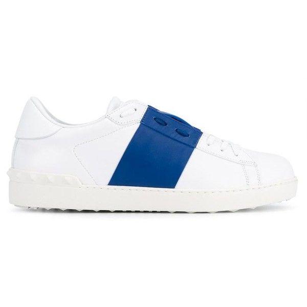 Valentino Valentino Garavani 'Open' sneakers (€280) ❤ liked on Polyvore featuring men's fashion, men's shoes, men's sneakers, white, mens white sneakers, mens lace up shoes, valentino mens shoes, mens flat shoes and valentino mens sneakers
