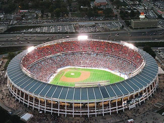 The old Atlanta Fulton County Stadium before a Braves game.