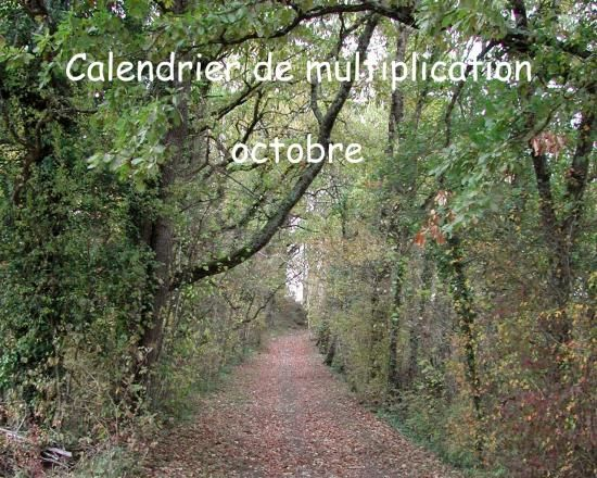 Calendrier de multiplication octobre