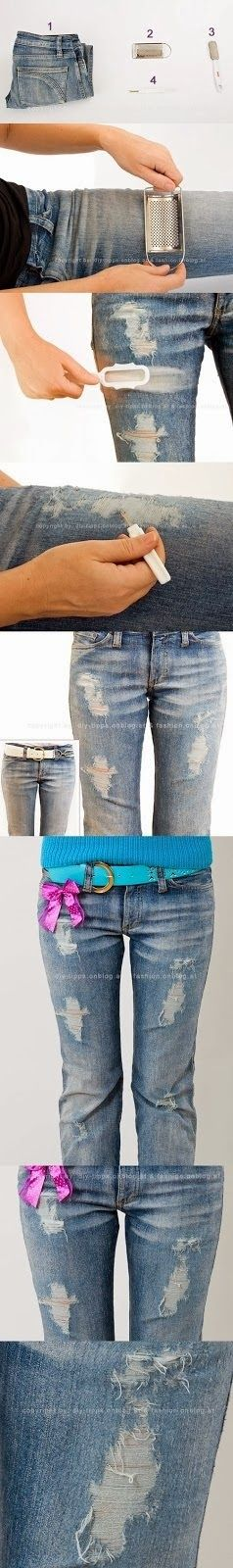 Easy DIY Crafts: Just in case I ever want to distress jeans