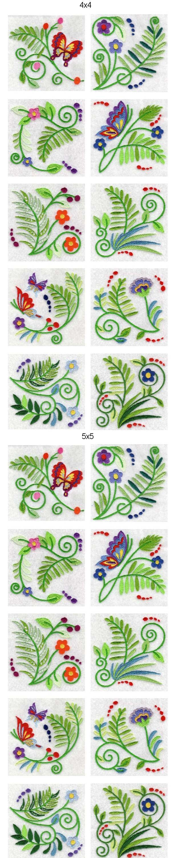 Jacobean Ferns Embroidery Machine Design Details