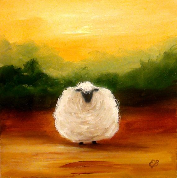 Elizabeth Barrett Impressionist Oil Painting Farm Animal SHEEP