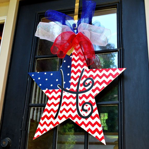 Fourth of July Door Hanger, 4th of July Wreath, Patriotic Wreath, Patriotic Star Door Decoration