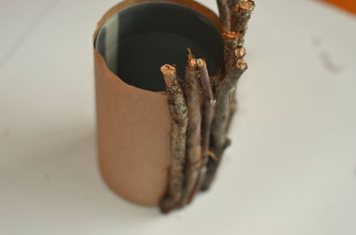 Easy DIY Rustic Vase made from a tin can and glued on twigs