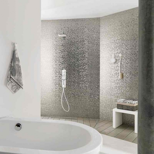 Madison earp bros silver tiles a splashback or bathroom for Bathroom feature tiles