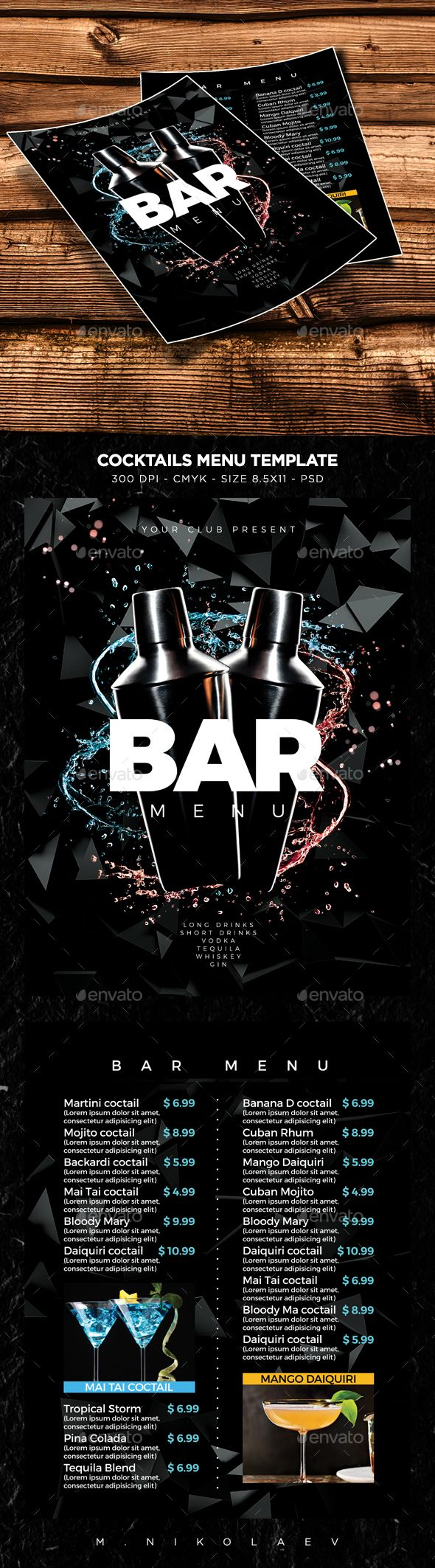 Cocktail Drinks Menu Template PSD. Download here: https://graphicriver.net/item/cocktail-drinks-menu-v10/17020805?ref=ksioks