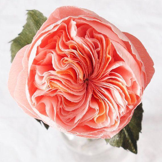 Single Stem Paper Juliet Garden Rose by A Petal Unfolds