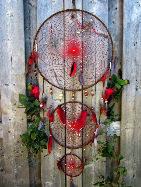 Large Red Dreamcatcher authentic dream catcher  by FineBubbles