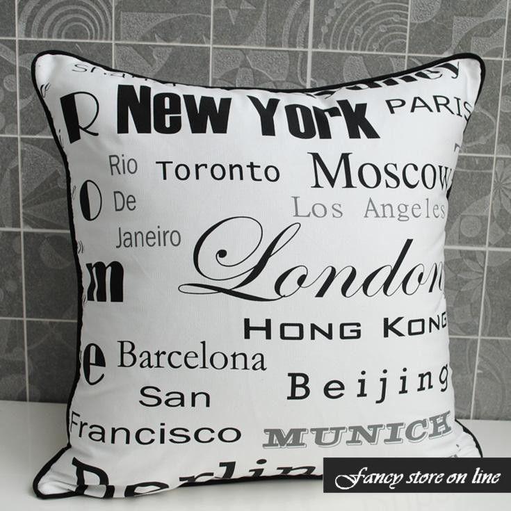45cm White City Name Cotton Canvas Cushion Cover - New York London Rome Berlin