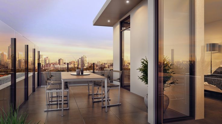 3D render - photorealism - interiors - architecture - balcony - sunrise - urban living.