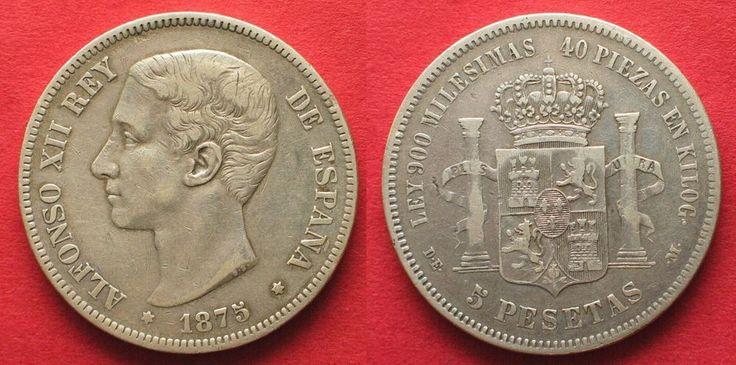 SPANIEN 5 Pesetas 1875 ALFONSO XII. Silber # 93901