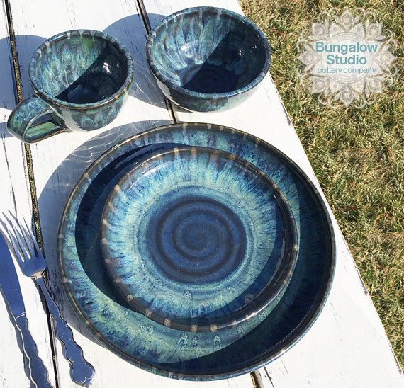 *Ships in approx. 3-4 weeks, depending on the number of place settings* Beautiful made to order stoneware dish set, wheel thrown and glazed in rich