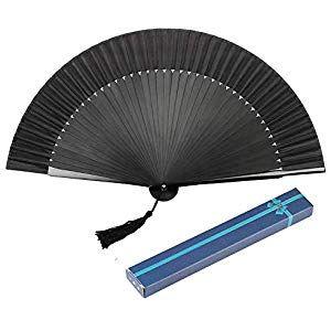 AIUIN Schwarze Seide Gefaltete Hand Fan Bambus Handheld Faltfächer mit Geschenk…