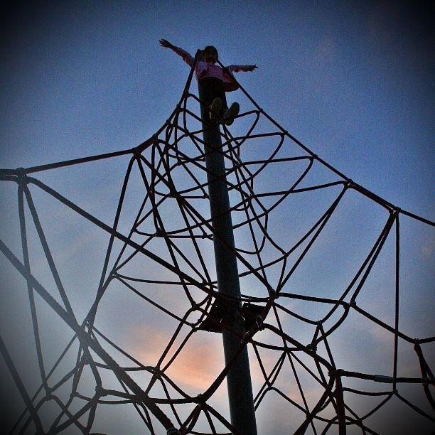 World's biggest spider web? Not quite… But that would be terrifying! #CaptureTheCover #spiderweb #playground #sunset