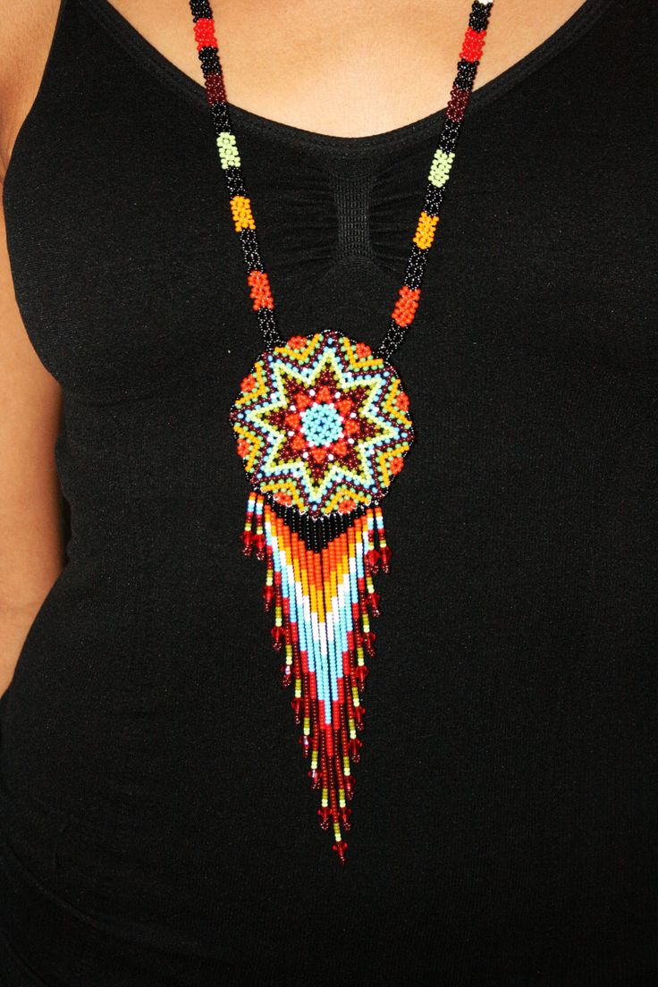 Seed Bead Necklace Native Amerian Beadwork by BiuluArtisanBoutique