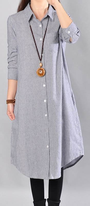 9f52786daaa baggy blue Midi-length linen dress oversize linen shirts dresses boutique  lapel collar striped cotton clothing