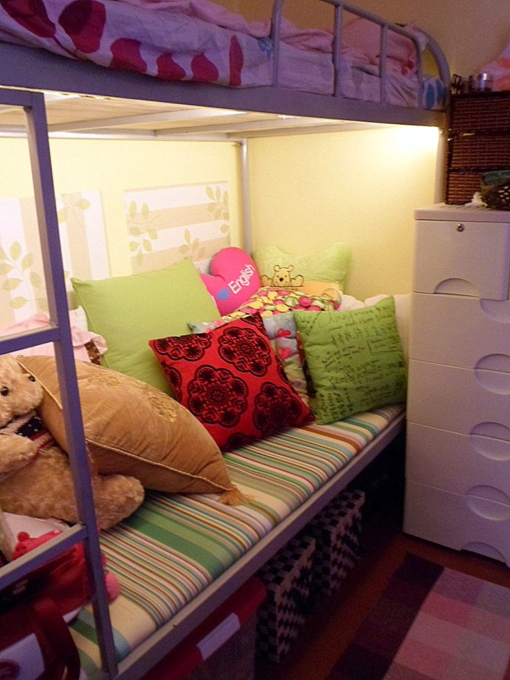 A Bunk Beds Bottom Turned Sofa For Dorm Room