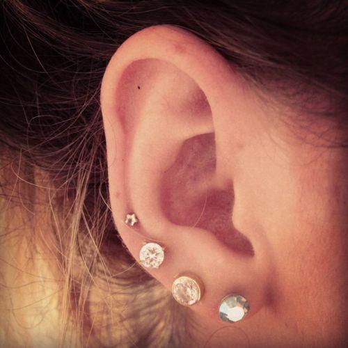 four ear piercings