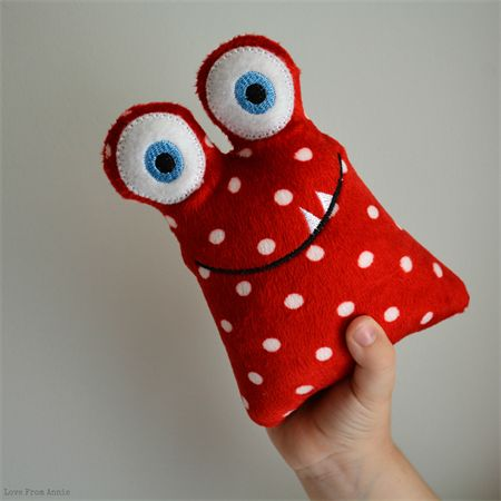 Rattle Monster Red Polka Dot | Love From Annie | madeit.com.au