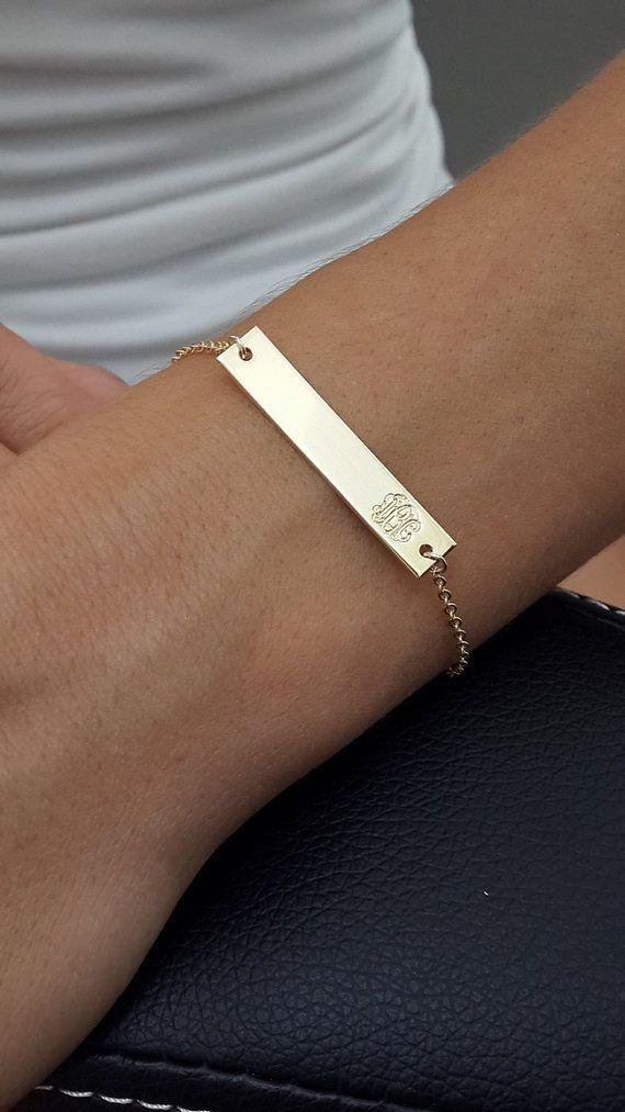Gold Bar Monogram Bracelet, Name Plate Bracelet, Engraved Bracelet, Personalized Gold Letter Initial Bracelet