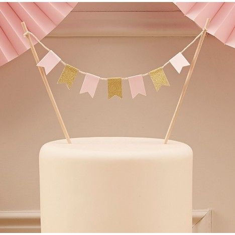 Torten-Girlande oder Kuchen-Girlande in pastell-rosa und gold aus pappe für Babyparty Taufe Geburtstag oder als Silvester-Deko