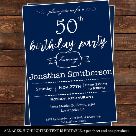 22 best party ideas for mens birthday images on pinterest mens surprise birthday invitations mens by diypartyinvitation solutioingenieria Images