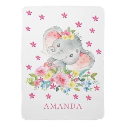 08ab607a9c Personalized Happy Elephant Baby Receiving Blanket | Zazzle.com in ...