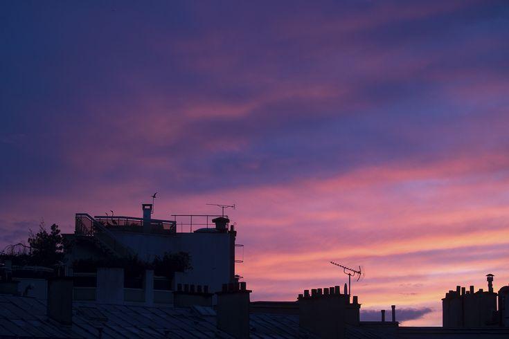 Paris at sunset. - Paris skyline at sunset.