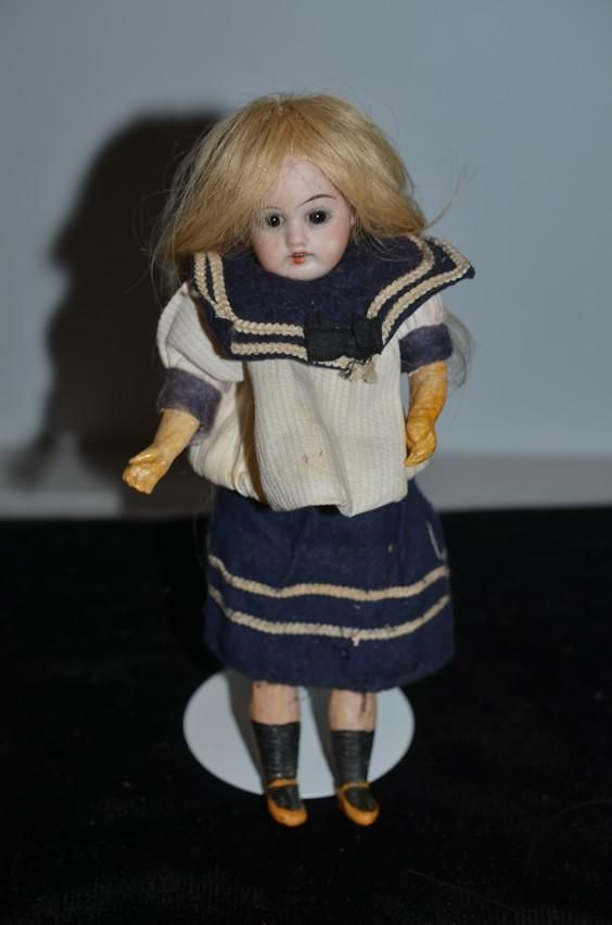 Antique Doll Bisque Miniature Cabinet Size Glass Eyes French Market Sonneberg Dep Sonnenberg In Factory Sailor Outfit