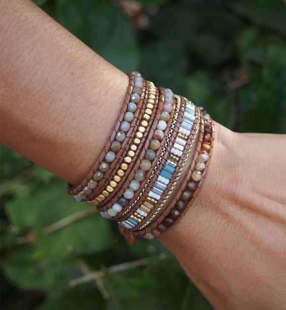 Brown mix Wrap bracelet, 5 times wrap, Boho bracelet, Bohemian ...