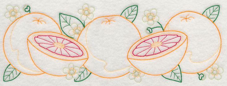 Tangy Grapefruit Border (Vintage) design (J4522) from www.Emblibrary.com