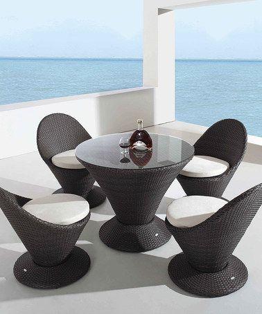 Look what I found on #zulily! Black & White Club Five-Piece Outdoor Dining Set #zulilyfinds