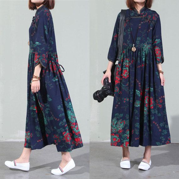 Vintage dresses ethnic clothing cotton dress women loose casual maxi dress woman